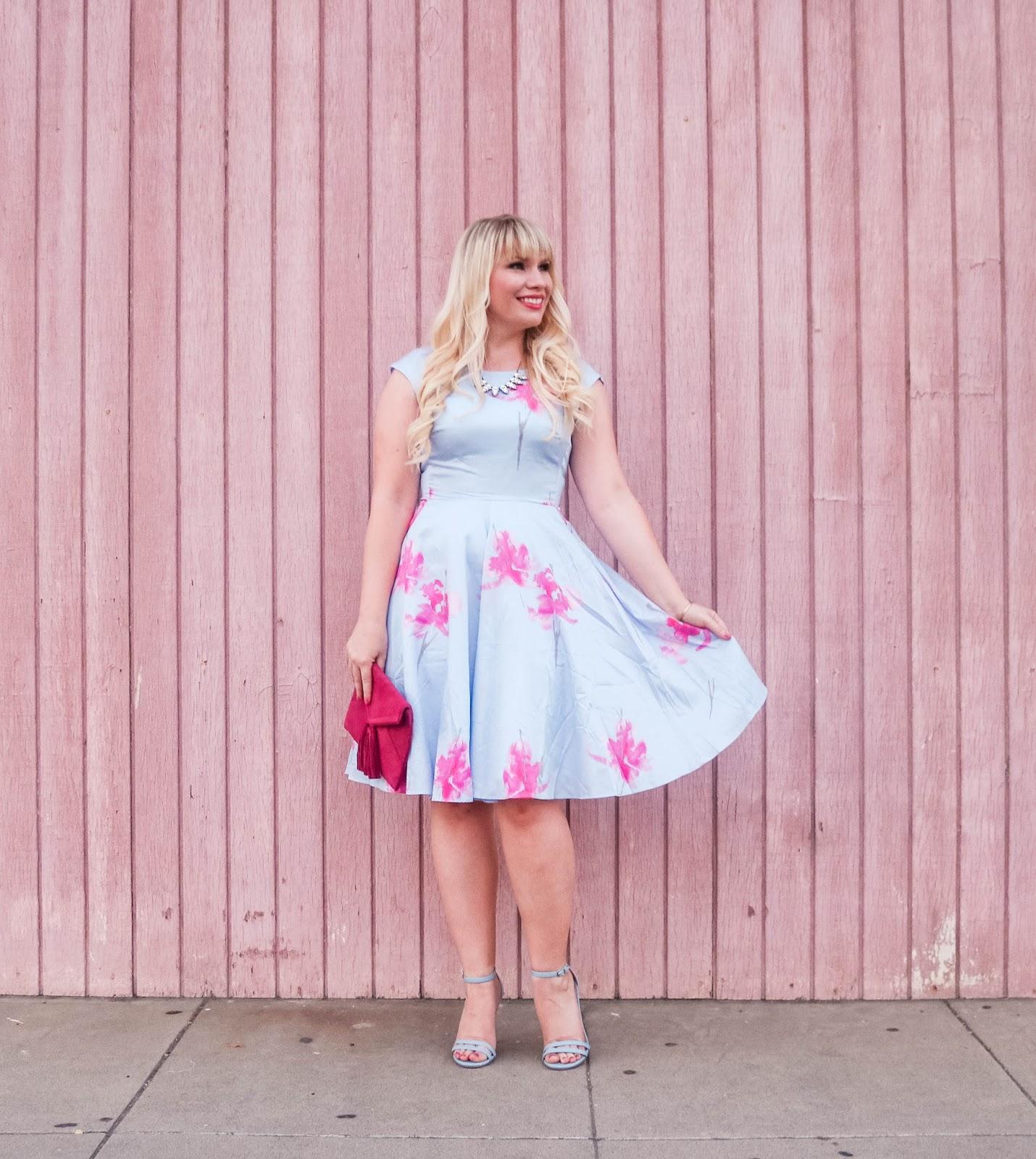 Elizabeth Hugen of Lizzie in Lace wears a light blue floral dress