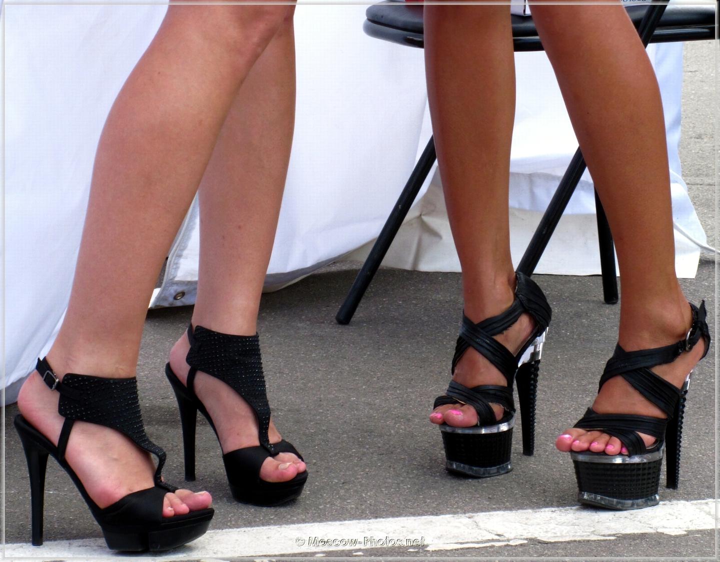 Black ultra high heels shoes