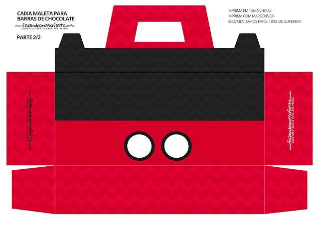 Caja Tipo Mickey con Forma de Maleta para Imprimir Gratis.