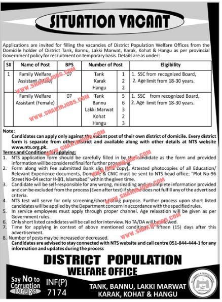 24+jobs in District Population Welfare Offices Tank, Karak, Hangu, Bannu, Lakki Marwat & Kohat