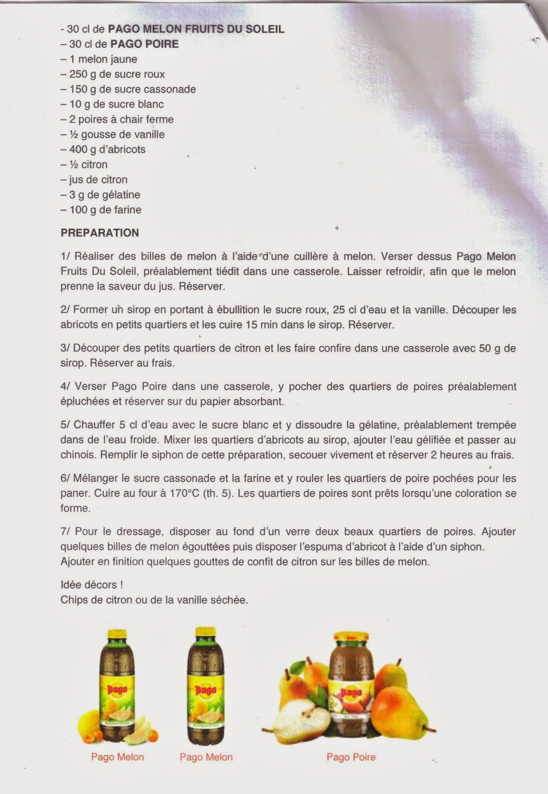 recette avec les jus de fruit Pago