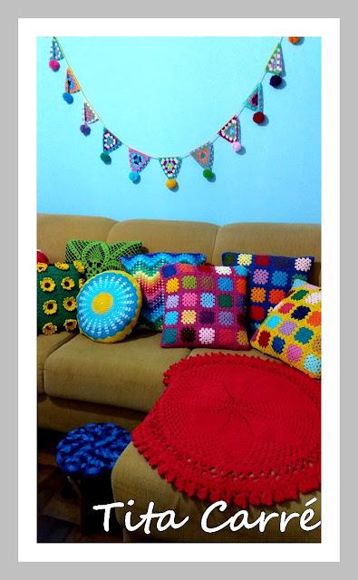 O colorido das minhas almofadas em Crochet