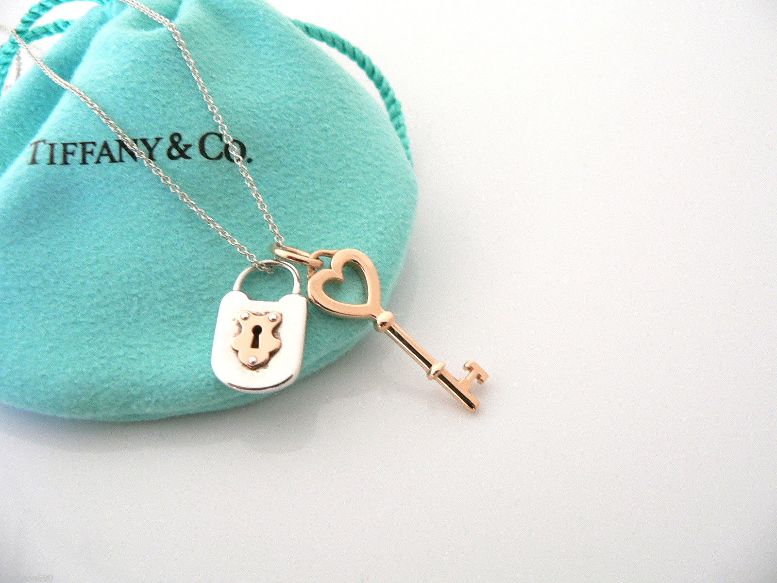 c6fe98aef This Tiffany & Co. Silver & 18K Rose Gold Heart Key Locks Necklace Pendant  Charm on eBay is perfect for daily wear, $948. I love this vintage necklace.
