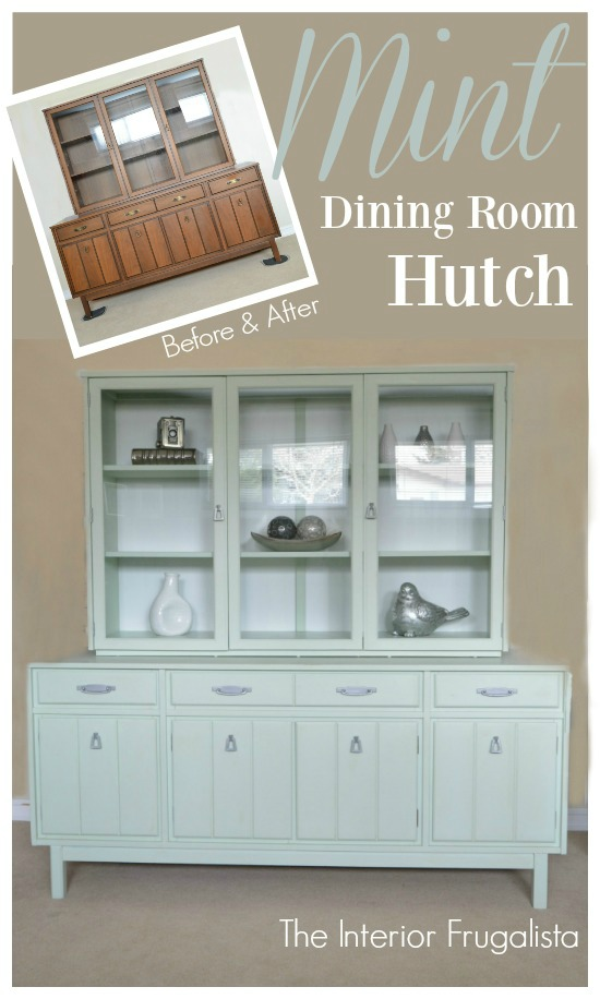 A vintage mid-century china cabinet makeover and how to give it a much lighter and brighter look with pretty Pistachio mint green chalk style paint. #furnituremakeover #paintedfurniture #chinacabinetmakeover #minthutch