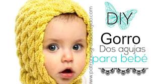 Gorro estilo capucha para bebé / Tutorial Dos Agujas