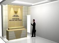 Meja Customer Service, Partisi Background Kantor dan Huruf Timbul Perusahaan - Furniture Semarang