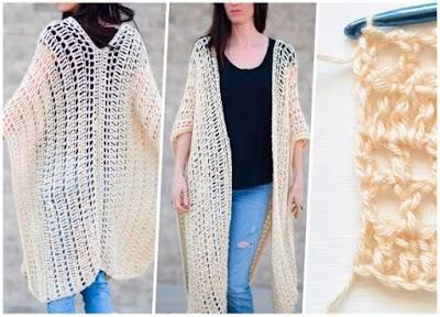 Poncho o Kimono tejido entre Morocco y Spain
