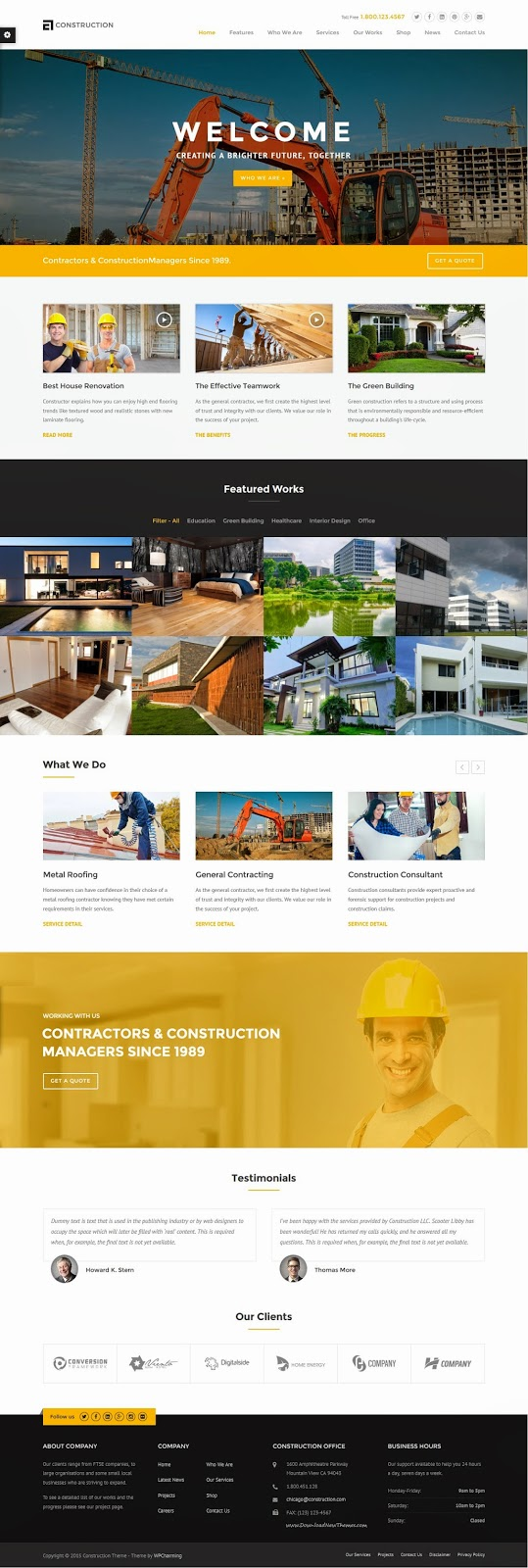 Best Construction Business WordPress Theme