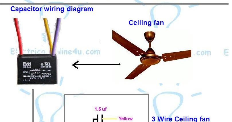 Ceiling Fan 3 Wire Capacitor Wiring Diagram  Electrical Online 4u