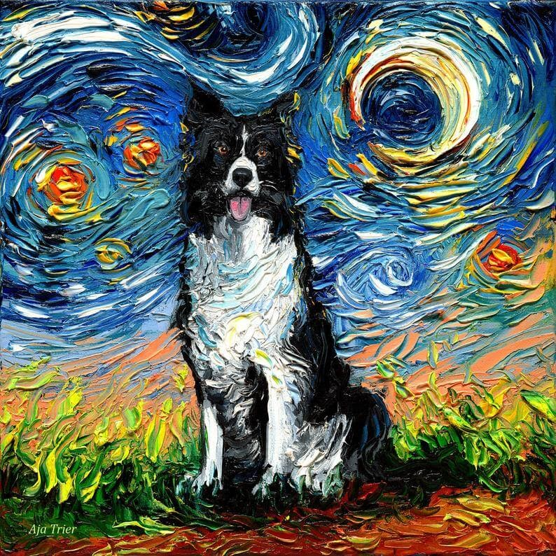 05-Border-Collie-Aja-Trier-The-Starry-Night-Dog-Paintings-www-designstack-co