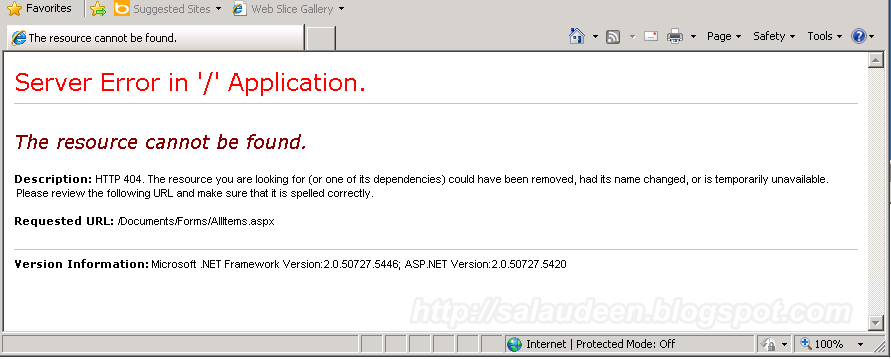 Server error in '/' Application - The Resource cannot be found - Solution