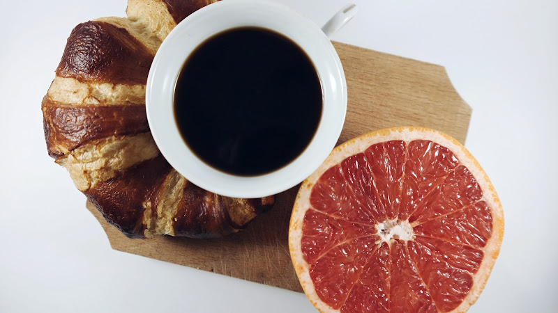 Croissant, Coffee and Grapefruit