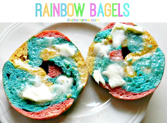 Rainbow bagel recipe #kids #food #bagels ducksnarow.com