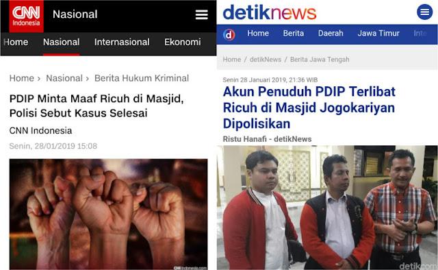 PDIP Minta Maaf Ricuh di Masjid, Polisi Sebut Kasus Selesai; Akun Penuduh PDIP Dipolisikan