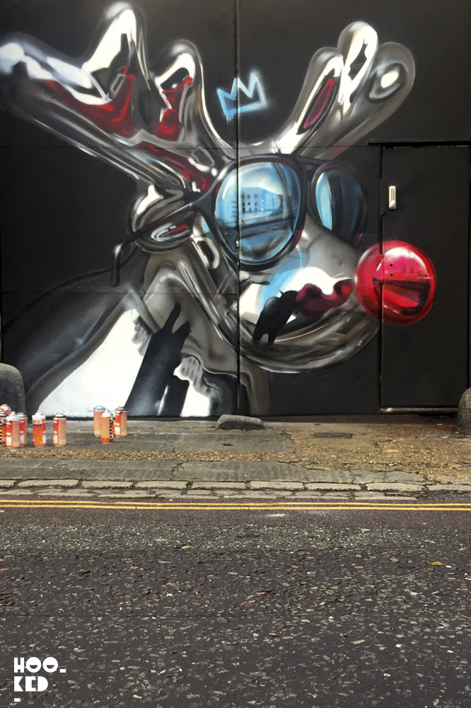 Christmas Street Art Mural in London by artist Fanakapan. Photo ©Mark Rigney / Hookedblog