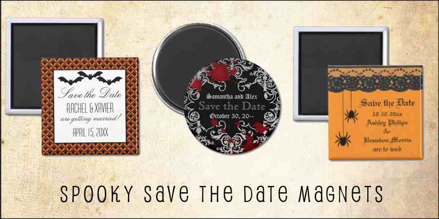 spooky Halloween save the date wedding magnets