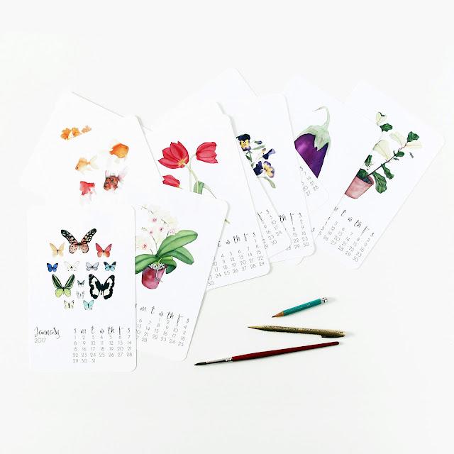 art print calendar, desk calendar, 2017 Calendar, Anne Butera, My Giant Strawberry