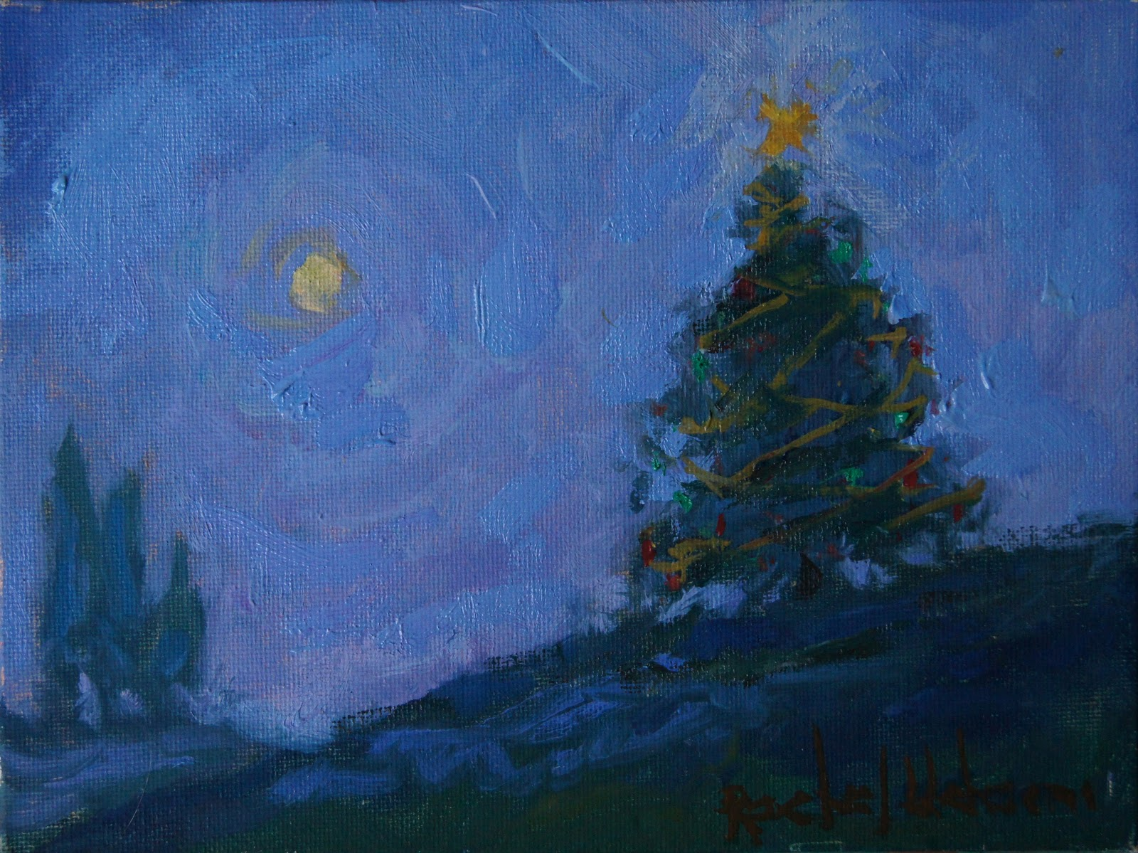 Acrylic Christmas Tree Painting.Paintings By Rachel Uchizono Christmas Tree Painting By