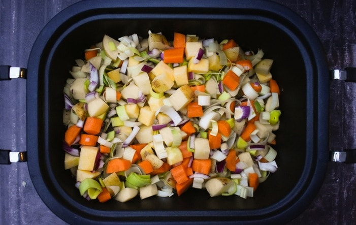 Vegetable Soup ingredients in a slow cooker
