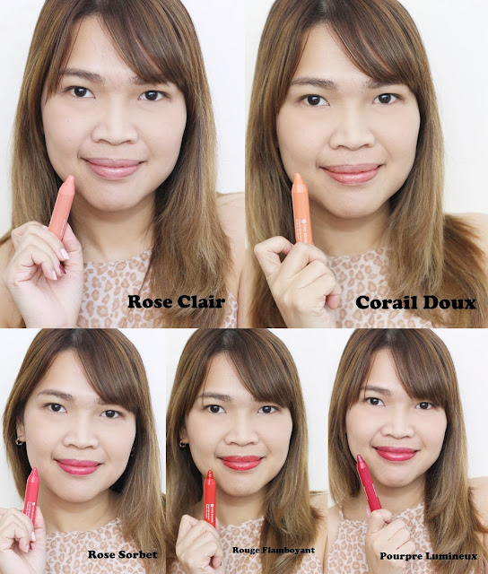 a photo of Yves Rocher Radiant Lip Crayons Review in shades Rose Clair, Corail Doux, Rose Sorbet, Rouge Flamboyant and Pourpre Lumineux
