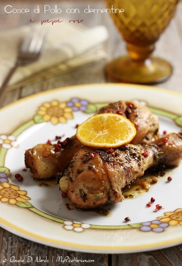 Cosce di pollo con clementine e pepe rosa