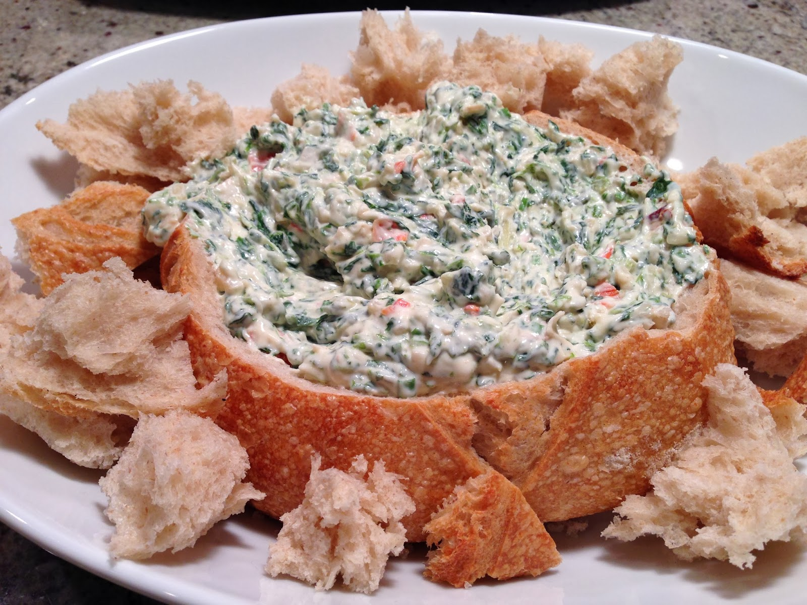 Playing With My Food Classic Spinach Dip In Bread Bowl