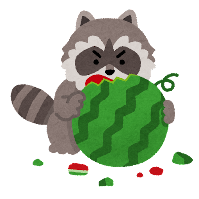アライグマの食害のイラスト