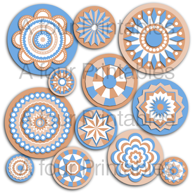 Teal and brown mandala circles printable collage sheet from A four Printables.