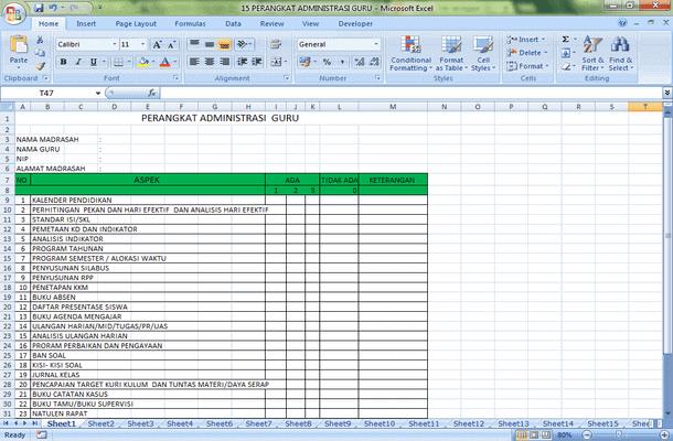 15 Perangkat Administrasi Guru Format Microsoft Excel