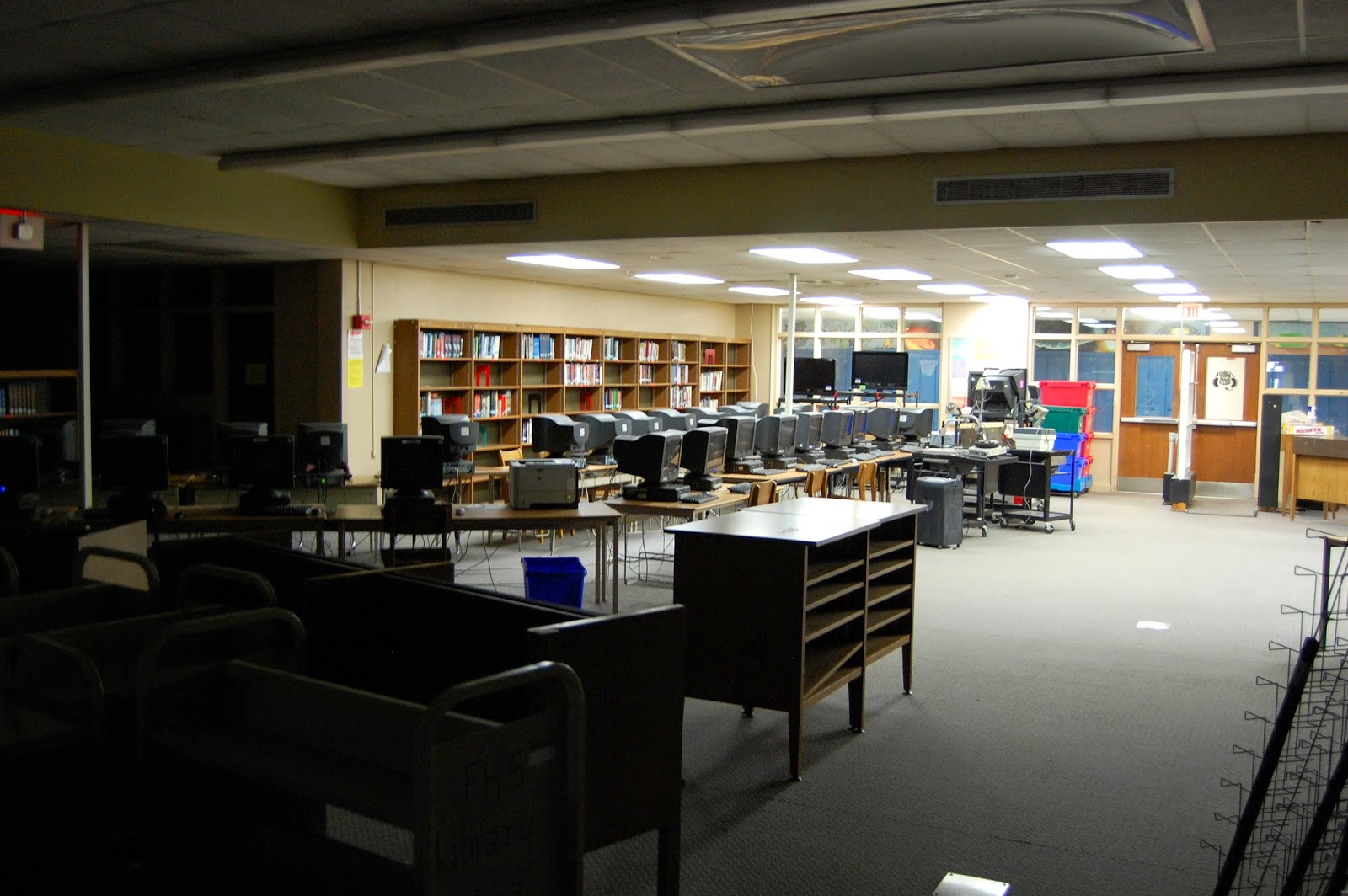 library partly in the dark