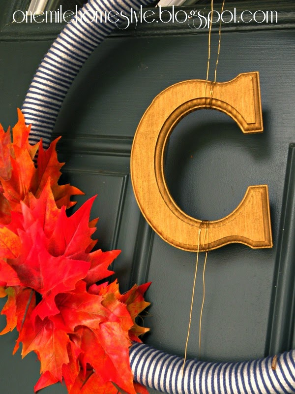 Gold Monogram Fall Wreath