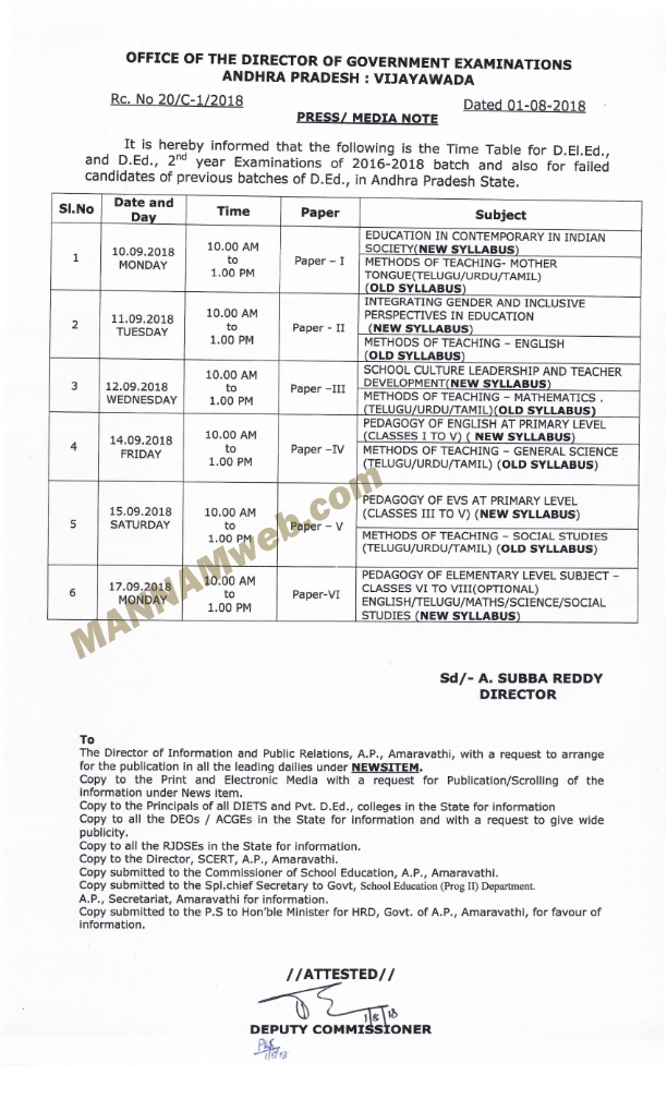 D.El.Ed., 2ND YEAR EXAMS ( 2016-18) BATCH SEPTEMBER 2018 TIME TABLE-RC.20 DT.1/8/18