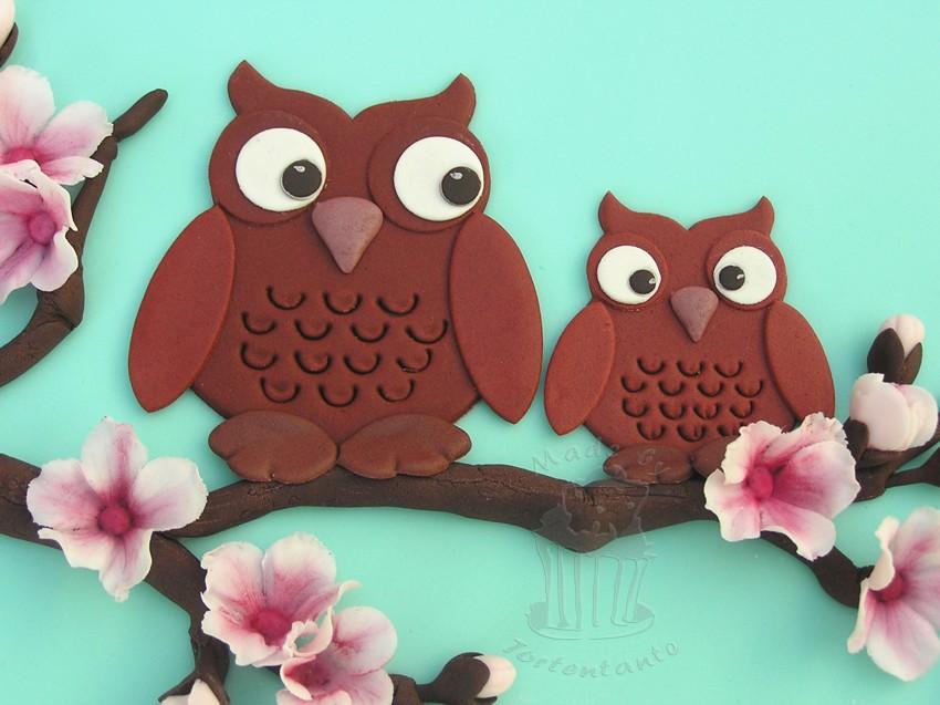 Motivtorte owls patchwork cutter eulen gumpaste fondant cake