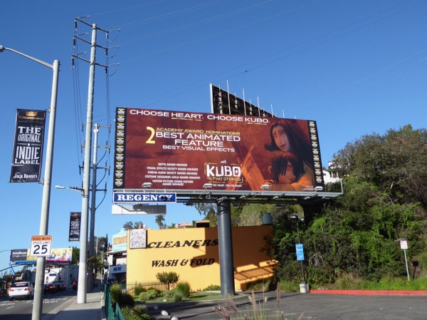 Kubo Two Strings Oscar nominee billboard Sunset Strip