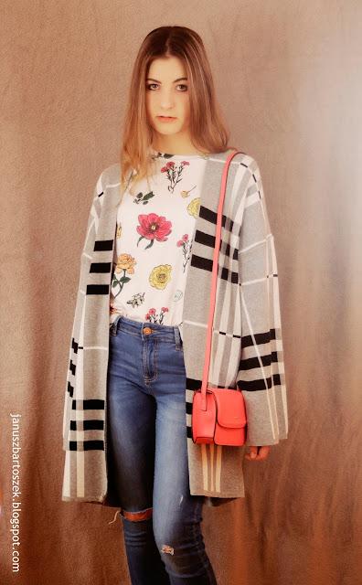 Look z kardiganem kimono (Bershka)