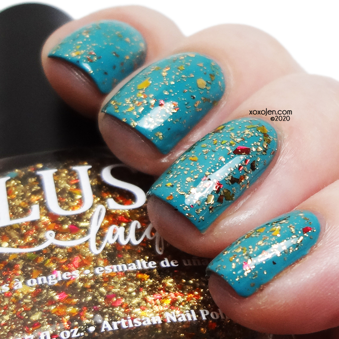 xoxoJen's swatch of Blush Lacquers Bungalow Breeze topped with Bangles & Beachballs