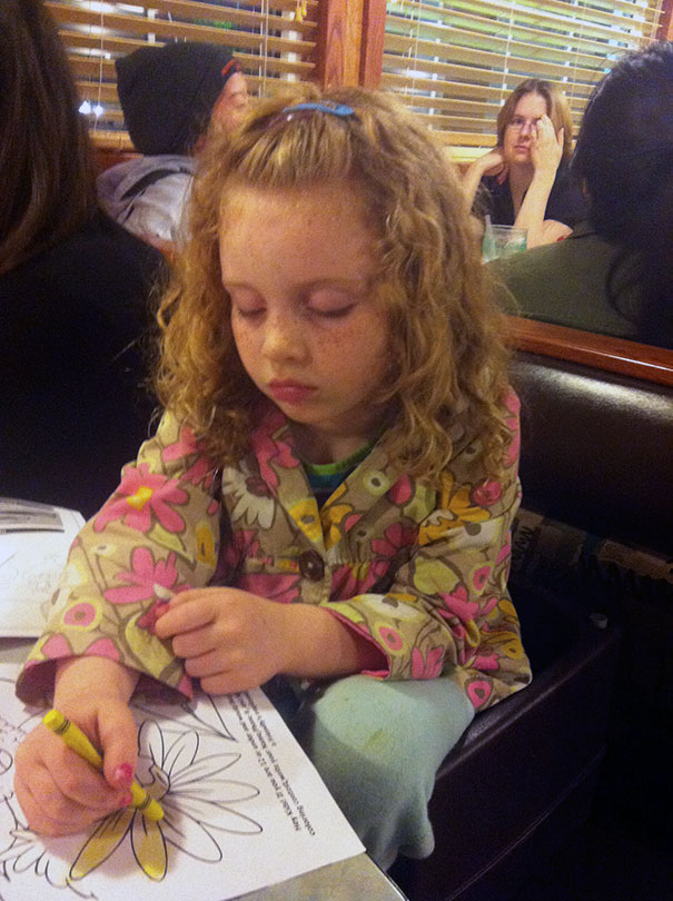15+ Hilarious Pics That Prove Kids Can Sleep Anywhere - Napping While Coloring