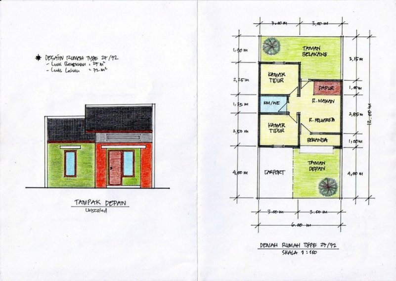 denah rumah ukuran 6x12 m2 kreatif