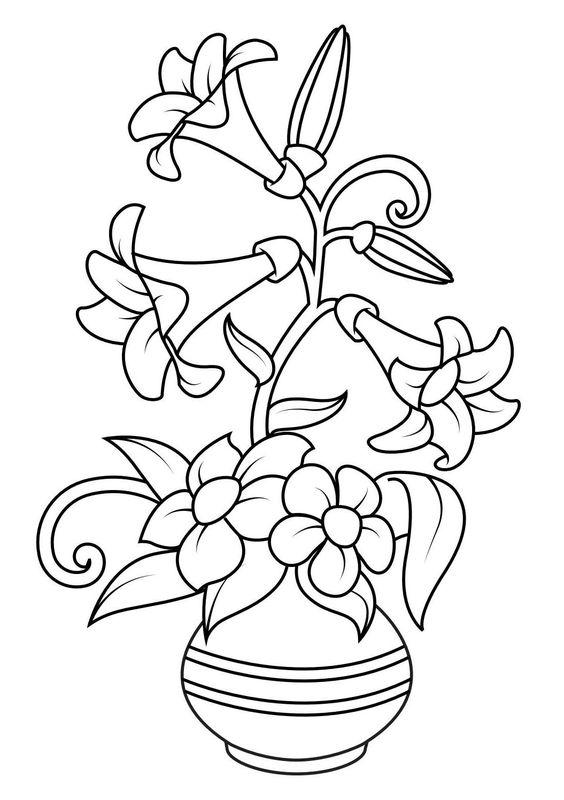 Tranh tô màu bình hoa ly