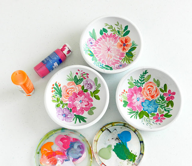 Painted Floral Wooden Bowls: Grow Creative Blog