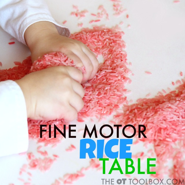 This sensory pre-handwriting activity rice table is perfect for kids working on fine motor skills.