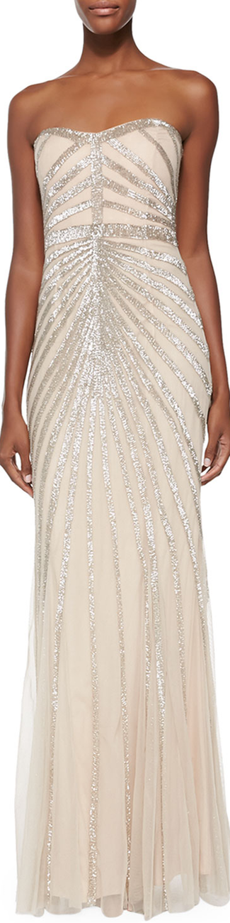 Rachel Gilbert Blair Strapless Beaded-Pattern Gown