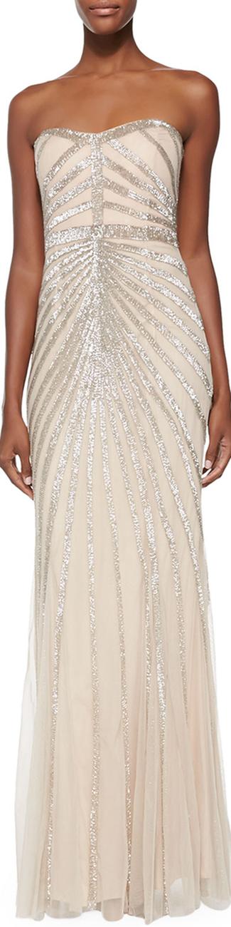 Rachel Gilbert Blair Strapless Beaded-Pattern Gown
