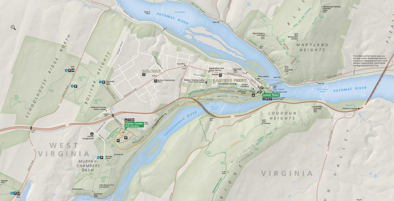geographically harpers ferry is located as a border city on the convergence of the potomac and shenandoah rivers along the blue ridge mountains in west