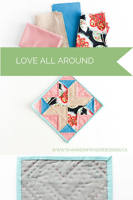 Love All Around Quilt Block | Shannon Fraser Designs | Modern Quilting | Hand Quilting |  Valentine's Day |