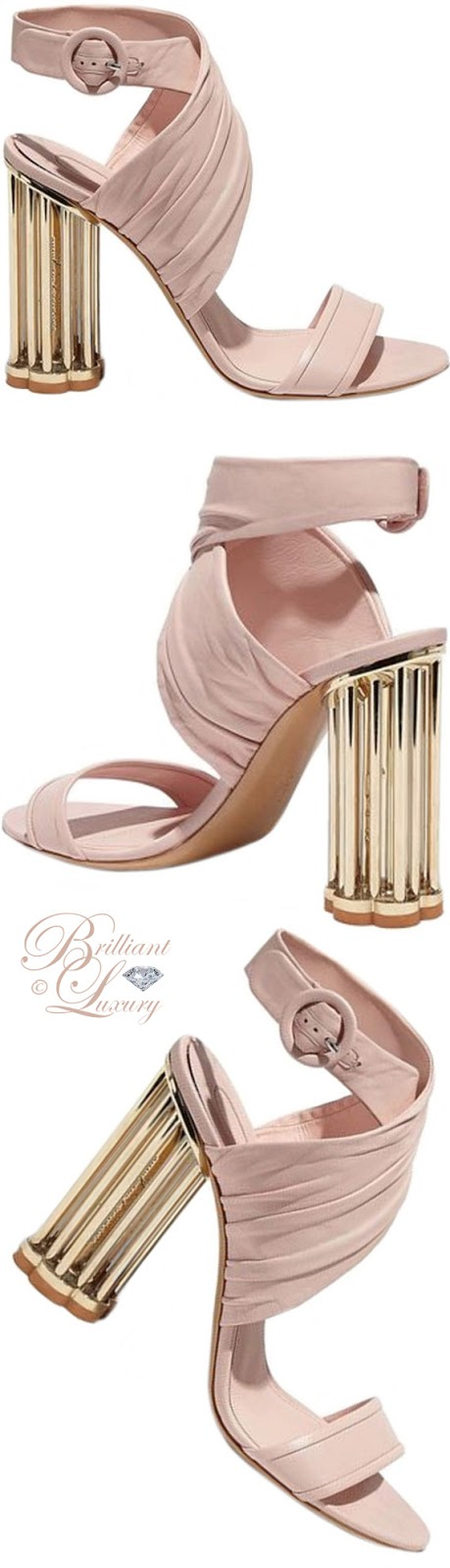 Brilliant Luxury ♦ Salvatore Ferragamo criss-cross sandals with cage flower heel in rose gold