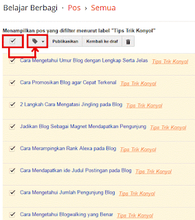 Cheklist Label dan Klik Icon Pensil