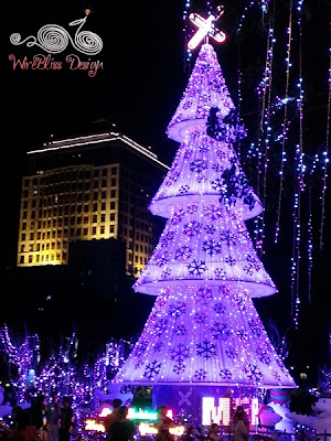 Purple light Christmas tree at Padang Central
