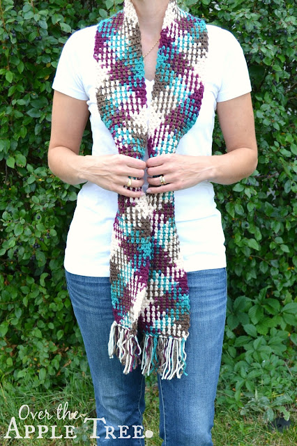 Over The Apple Tree Crochet Scarf Color Pooling