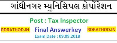 Tax Inspector Exam (GMC) Final Answer Key 2018
